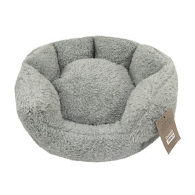 Teddy Bear Grey Round Dog Bed