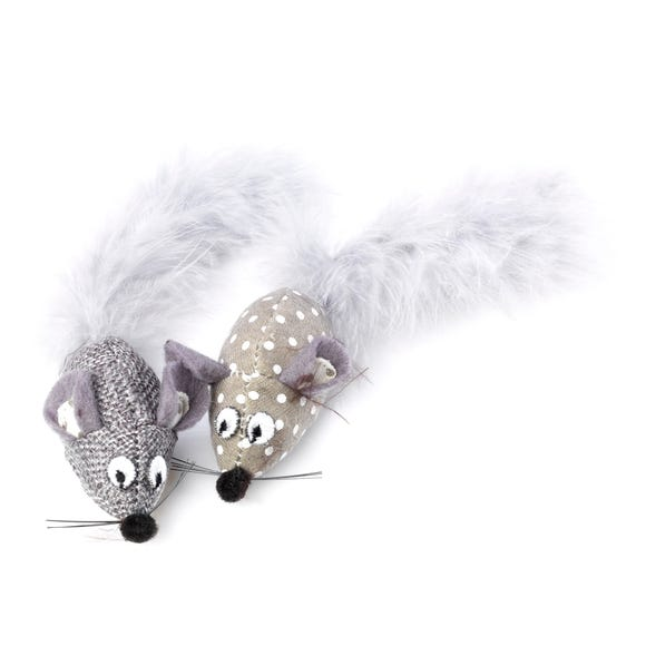 Pack of 2 Grey Hessian Mice Cat Toys Grey