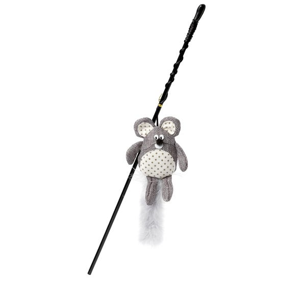 Hessian Grey Mouse Wand Cat Toy Grey