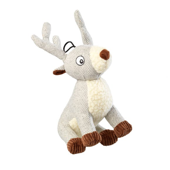 Tweed Grey Stag Dog Toy Grey