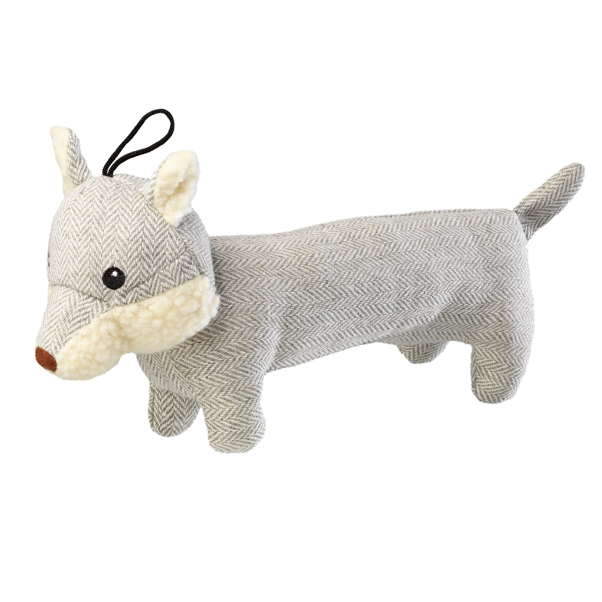 Tweed Grey Fox Dog Toy Grey