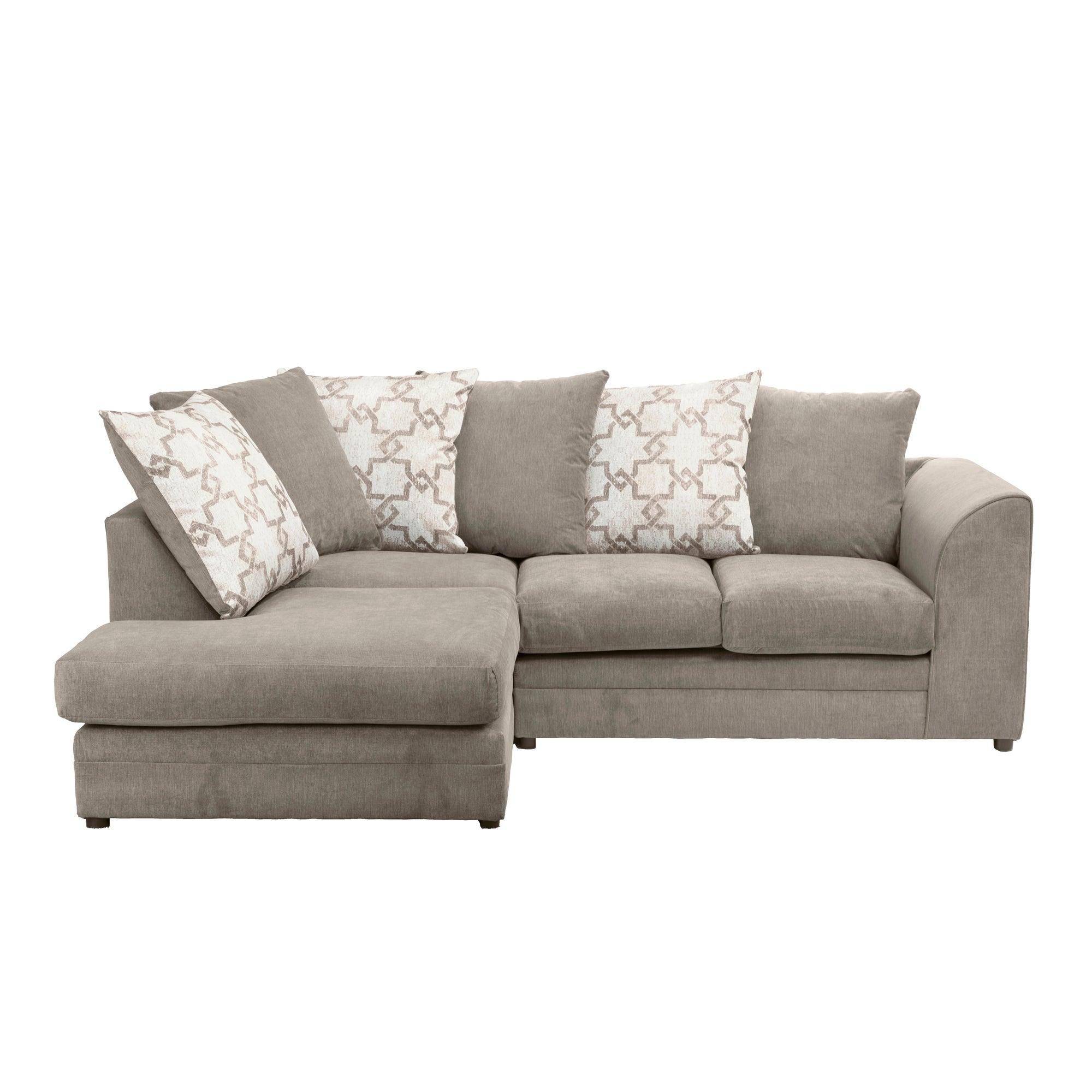 Washington Left Hand Fabric Corner Sofa Brown