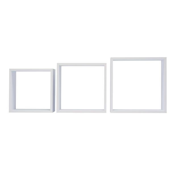 Triple Square White Cube Shelves White