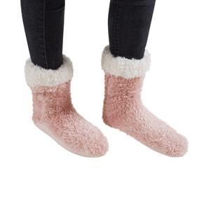 Teddy Bear Blush Pink Slipper Socks