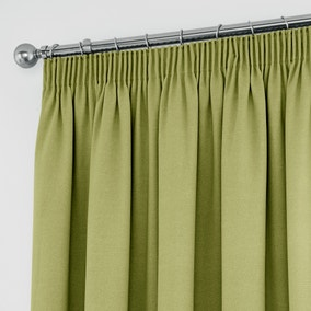 Tyla Green Blackout Pencil Pleat Curtains