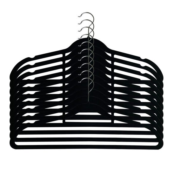 Pack Of 10 Black Flocked Hangers Black