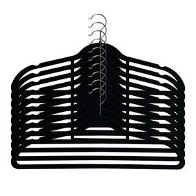 Pack Of 10 Black Flocked Hangers