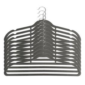 Pack Of 10 Grey Flocked Hangers