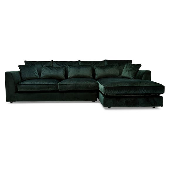 Samba Large Velvet Right Hand Corner Sofa Forest (Green)