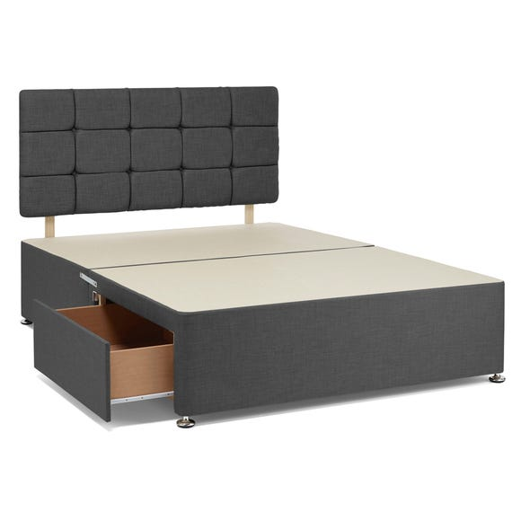 Universal 2 Drawer Linen Divan Base with Headboard Charcoal undefined