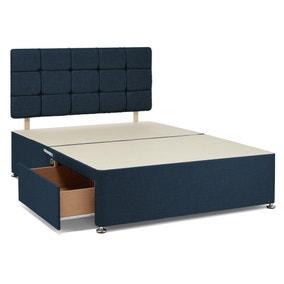 Universal 4 Drawer Linen Divan Base with Headboard