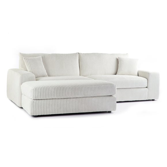 Champ Fabric Reversible Corner Chaise Sofa Cream