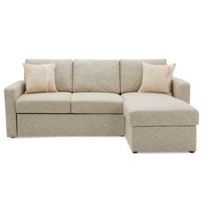Sophia Fabric Corner Sofa Bed - Natural