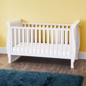 Oxfordshire Sleigh White Cot Bed