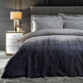 Ontario Luxe Metallic Silver Reversible Duvet Cover and Pillowcase Set
