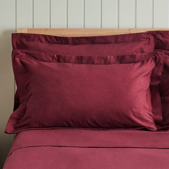 Dorma Supreme Premium 100% Brushed Cotton Plain Red Oxford Pillowcase Pair Red