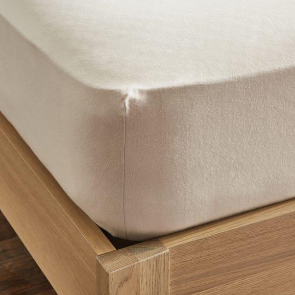 Dorma Supreme Premium 100% Brushed Cotton Plain Natural 32cm Fitted Sheet Natural undefined