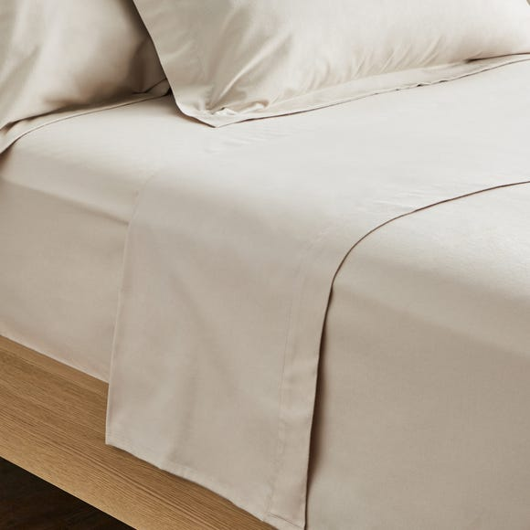 Dorma Supreme Premium 100% Brushed Cotton Plain Natural Flat Sheet Natural undefined