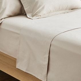 Dorma Supreme Premium 100% Brushed Cotton Plain Natural Flat Sheet