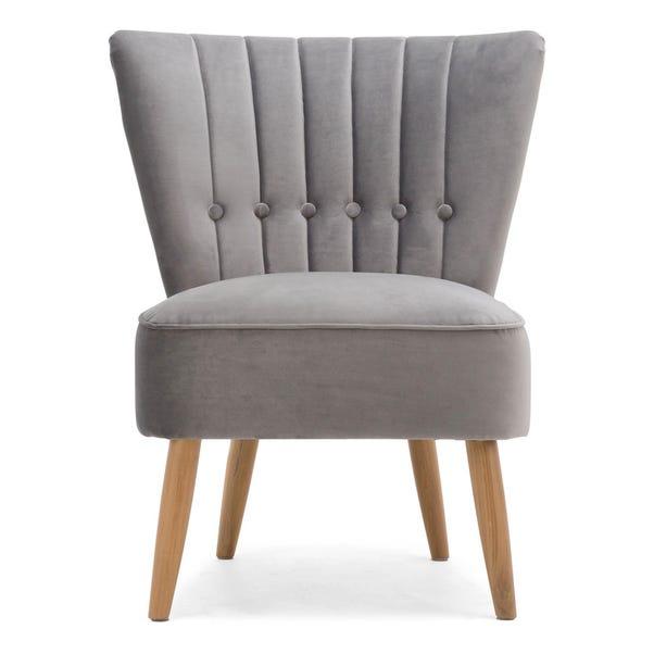 Isla Velvet Cocktail Chair - Light Grey