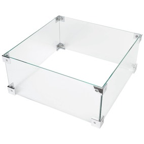 Glass Fire Screen for Square Fire Pit