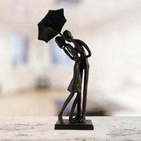 Elur Cast Iron Umbrella Couple Courting Figurine
