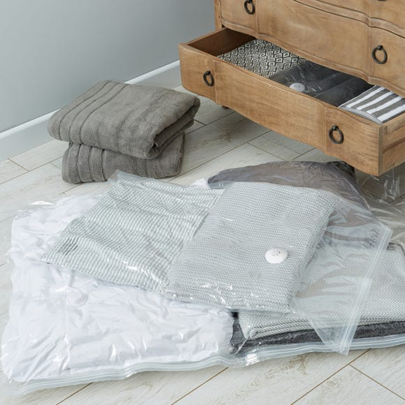 Set of Two Medium and Small Vacuum Storage Bags Clear