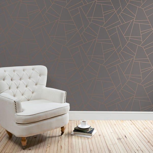 Deco Lines Grey Wallpaper Grey
