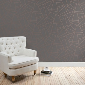 Deco Lines Grey Wallpaper