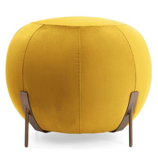 Cleo Yellow Velvet Footstool Yellow