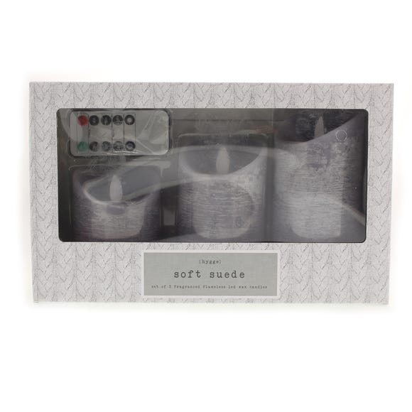 Hygge Set of 3 Soft Suede LED Candles Grey