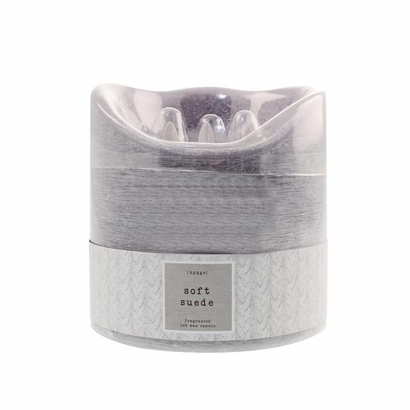 Hygge Soft Suede Multi Wick LED Candle Grey