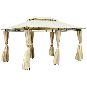 3m x 4m Steel Art Gazebo with Side Curtains