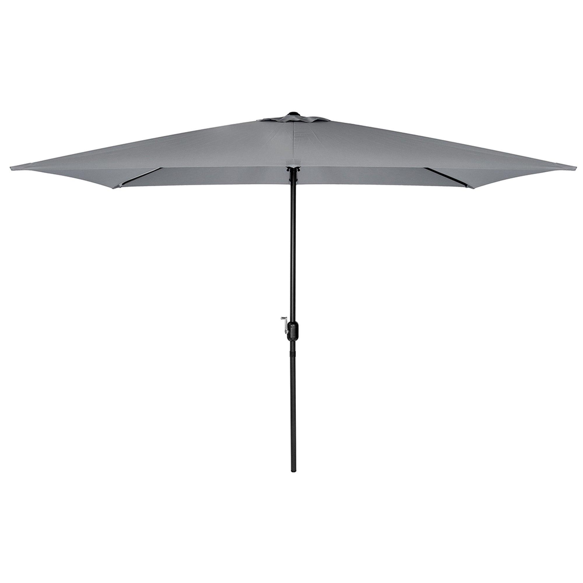 Light Grey Rectangular Crank Parasol Grey