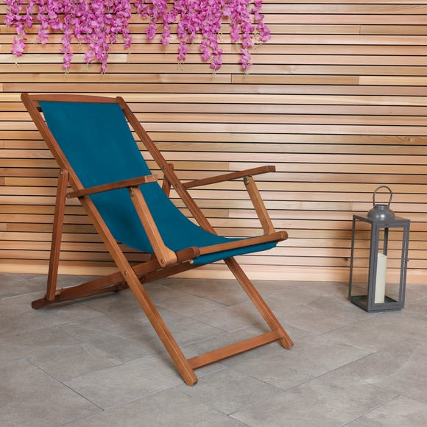Charles Bentley Teal Wooden Deck Chair Teal (Blue)