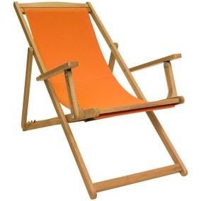 Charles Bentley Orange Wooden Deck Chair