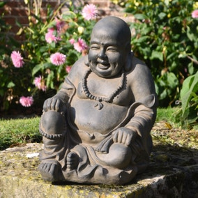 Rust Effect Sitting Buddhist Monk Outdoor Ornament