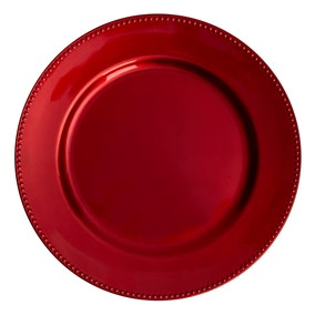 Beaded Red Foil Charger Plate