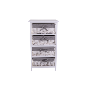 White and Grey 4 Drawer Tower