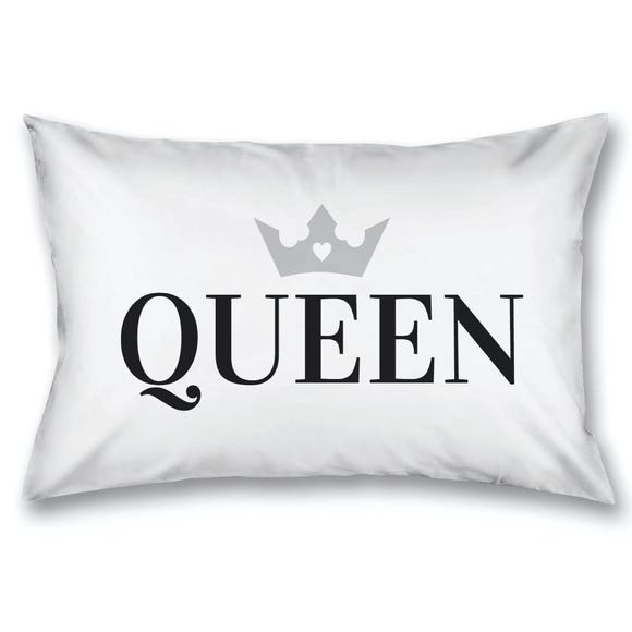 Queen with Crown Housewife Pillowcase White