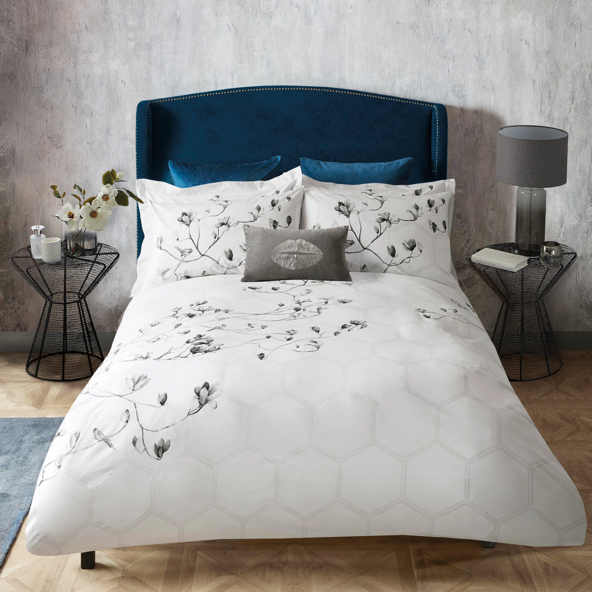 Photo of Emma willis kyoto garden 100 cotton reversible duvet cover and pillowcase set white and grey