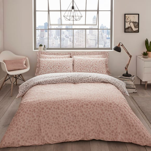 Emma Willis Mahla Leopard Print Reversible Duvet Cover and Pillowcase Set Pink undefined