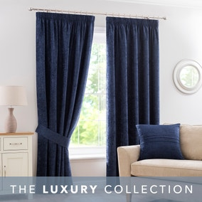 Chenille Navy Pencil Pleat Curtains