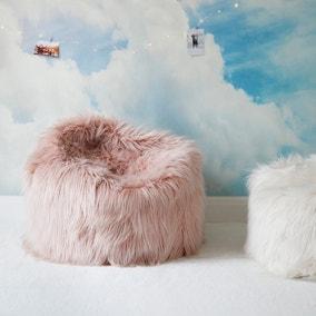 Skylar Mongolian Faux Fur Small Bagel - Blush