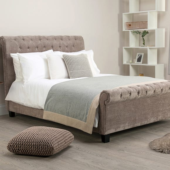 Orbit Mink Velvet Upholstered Bed Frame  undefined