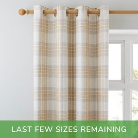 Fyfe Check Ochre Eyelet Curtains