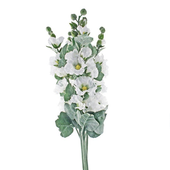 Pack of 5 White Holly Hock Stems White