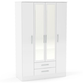 Lynx White 4 Door 2 Drawer Mirrored Wardrobe