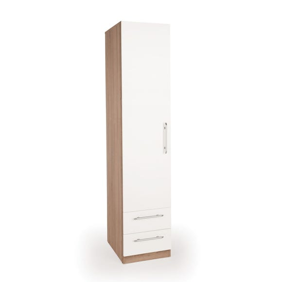 Hyde Single 2 Drawer Wardrobe White