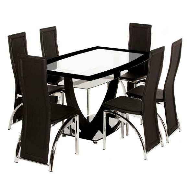 Henley 6 Seater Glass Dining Set Black